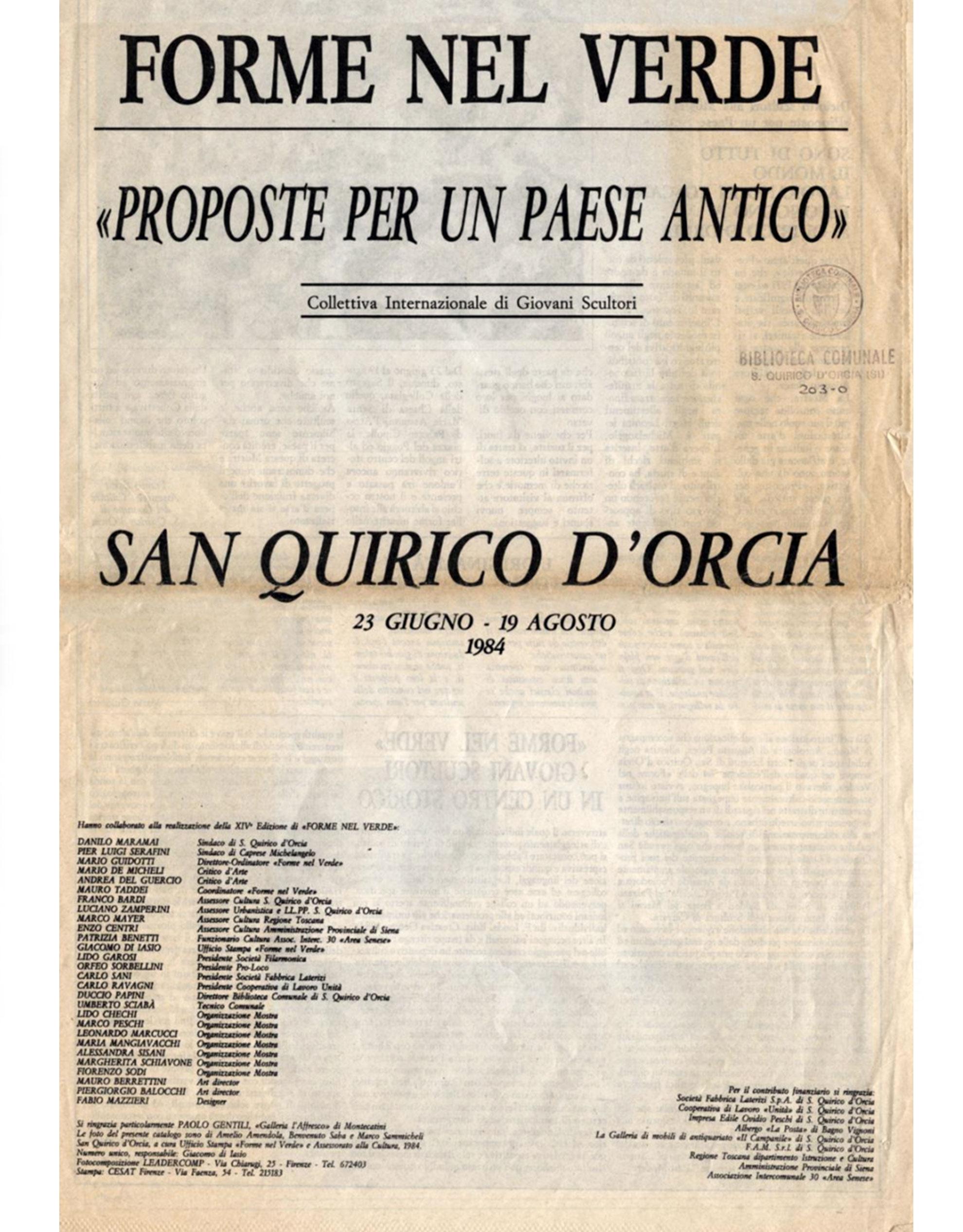 Catalogo Forme nel Verde 1984